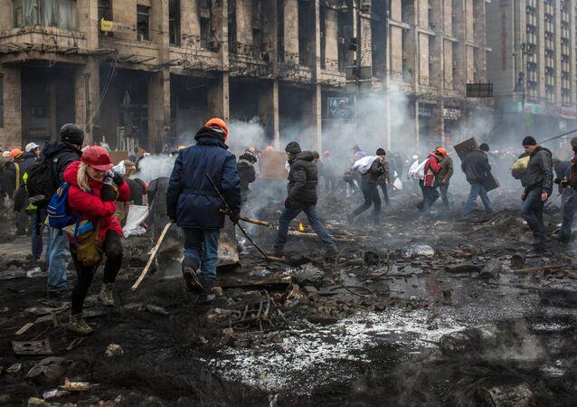 Manifestantes en la Plaza de Independencia en Kiev, el 20 de febrero, 2014