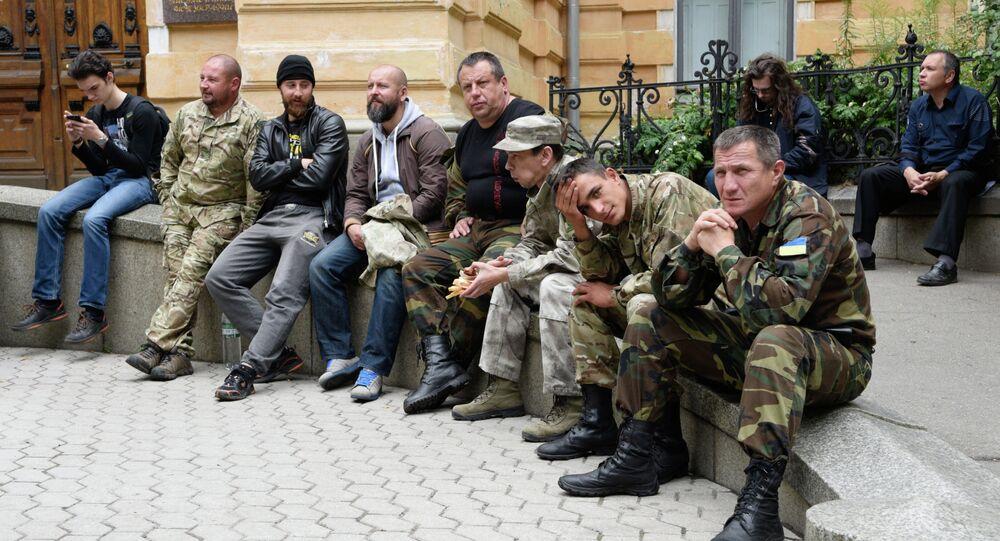 Militantes del movimiento Pravy Sektor