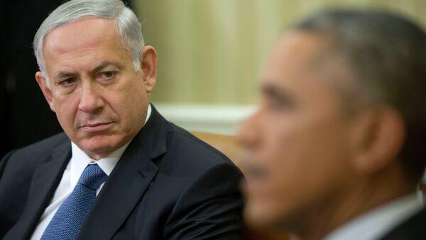 Primer ministro israelí, Benjamín Netanyahu, durante su reunión en Casa Blanca en Washington - Sputnik Mundo