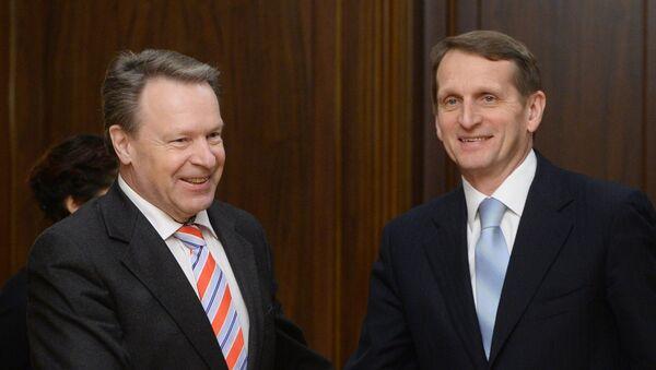Presidente de la Asamblea Parlamentaria de la OSCE, Ilkka Kanerva y presidente de la Duma de Estado de Rusia, Serguéi Naríshkin (Archivo) - Sputnik Mundo