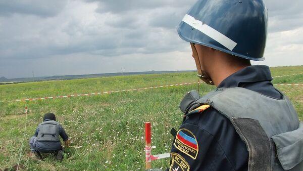 Milicias en el lugar del siniestro del MH17 en el este de Ucrania - Sputnik Mundo