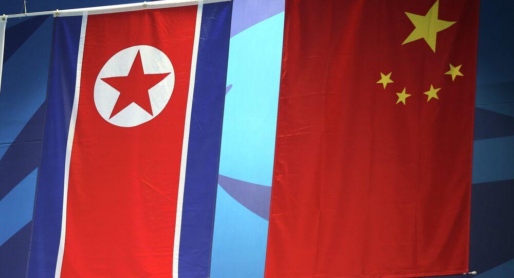 Banderas de China y Corea del Norte