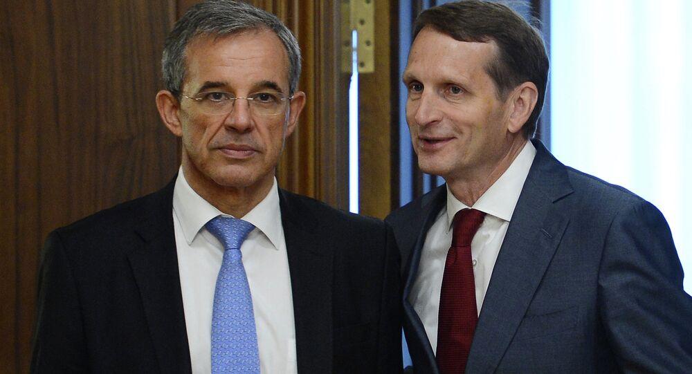 Copresidente de la asociación Diálogo Franco-Ruso, Thierry Mariani, y presidente de la Duma de Estado de Rusia, Serguéi Narishkin
