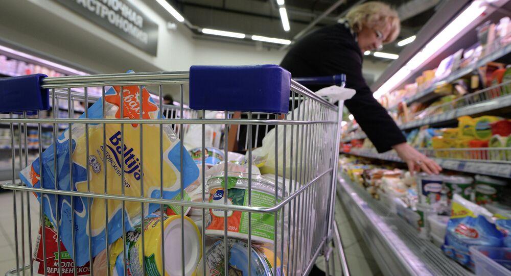 Productos lácteos en un supermercado en Rusia