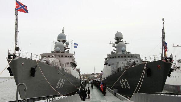 Buques Daguestán y Tatarstán de la Flotilla del Caspio - Sputnik Mundo