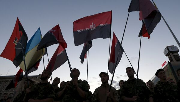 Miembros de la organización radical Pravy Sektor - Sputnik Mundo