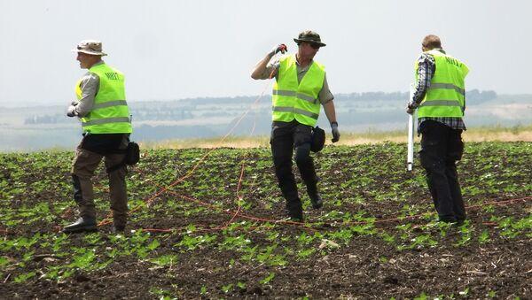 Investigadores en el lugar del siniestro del MH17 en el este de Ucrania - Sputnik Mundo