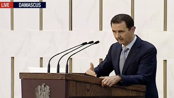 Bashar Asad, presidente de Siria, durante el mensaje televisivo a la nación - Sputnik Mundo