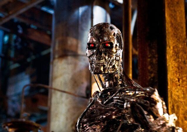 Robot con IA de película de ciencia ficción Terminator