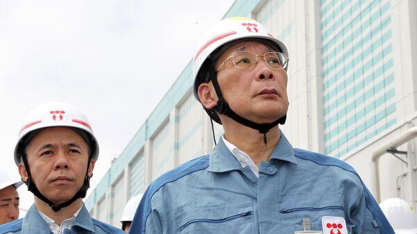 TEPCO Chairman Kazuhiko Shimokobe and President Naomi Hirose visit the Fukushima Dai-ni nuclear power plant in Naraha, Fukushima prefecture, northeastern Japan - Sputnik Mundo