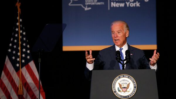 U.S. Vice President Joe Biden speaks at an event to announce a major reconstruction project of New York's LaGuardia Airport in New York City, July 27, 2015 - Sputnik Mundo