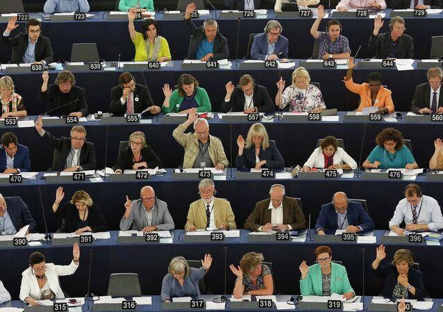 Sesión del Parlamento Europeo en Estrasburgo, Francia, el 9 de julio, 2015