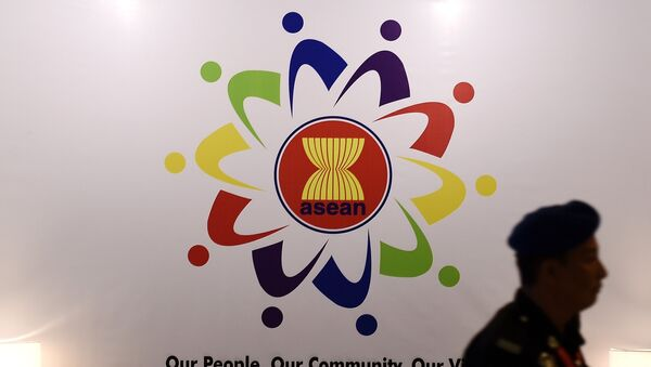 Association of Southeast Asian Nations (ASEAN) logo at the Putra World Trade Centre in Kuala Lumpur - Sputnik Mundo