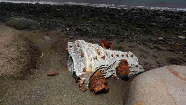 Escombros arrastrados hasta la playa de un isla en La Reunión (archivo) - Sputnik Mundo