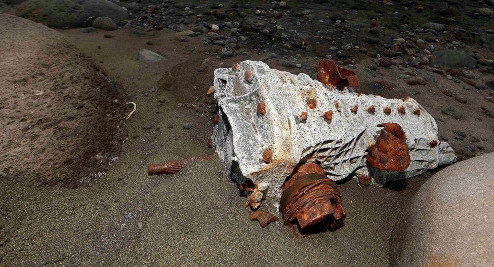 Escombro arrastrado hasta la playa de un isla en La Reunión