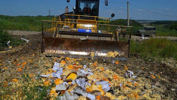 Destrucción de alimentos vetados en la provincia rusa de Bélgorod - Sputnik Mundo