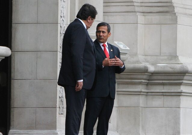 Presidente de Perú, Ollanta Humala y su antecesor, Alan García
