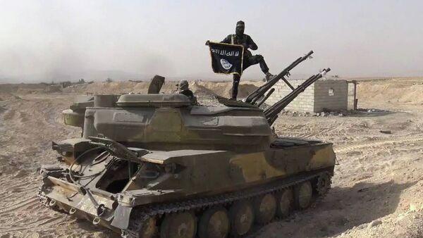 Militante de EI sobre un tanque capturado de las fuerzas gubernamentales de Siria en el poblado de Qaryatain, Siria, el 5 de agosto, 2015 - Sputnik Mundo