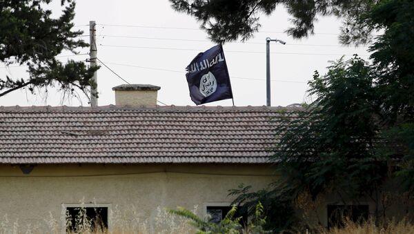 La bandera del Estado Islámico en la frontera entre Siria y Turquía - Sputnik Mundo