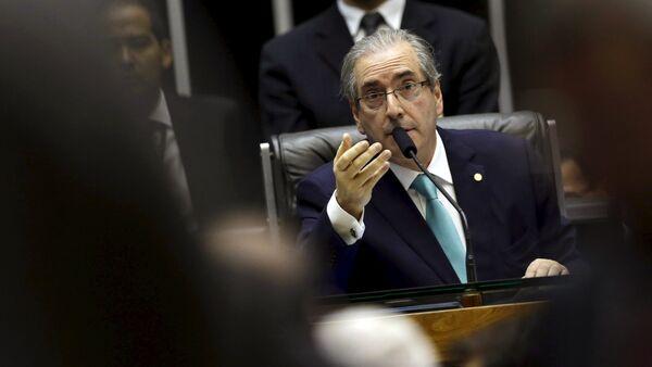 Eduardo Cunha, presidente de la Cámara de Diputados de Brasil, durante la sesión de la Cámara, el 6 de agosto, 2015 - Sputnik Mundo