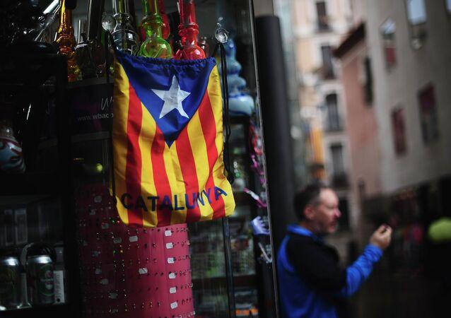 Bandera catalana independentista en Barcelona