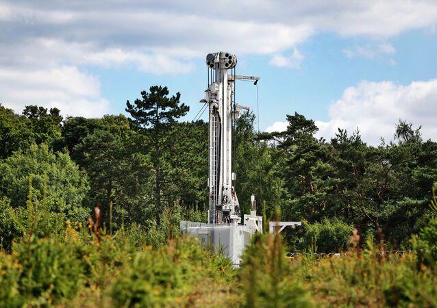 Sitio de perforación de la empresa Cuadrilla en Balcombe, Inglaterra