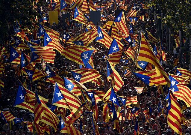 Banderas independentistas catalanas (archivo)