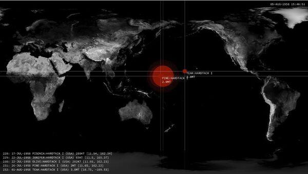 Mapa animado de explosiones atómicas - Sputnik Mundo