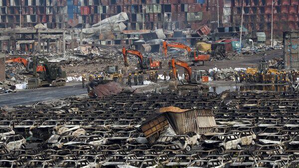 Lugar de explosiones en el distrito de Binhai en Tianjin, China, el 17 de agosto, 2015 - Sputnik Mundo