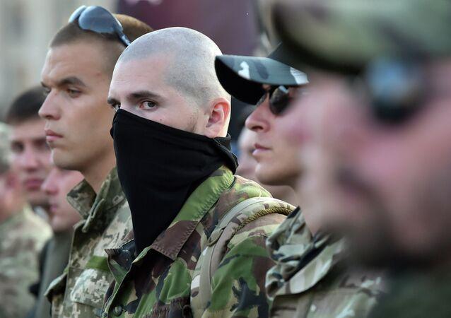 Combatientes del grupo radical Pravy Sektor