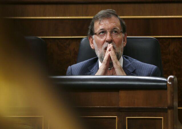 Mariano Rajoy, primer ministro de España, durante la sesión parlamentaria en Madrid, el 18 de agosto, 2015