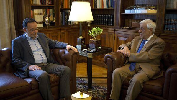 Líder del partido Unidad Popular, Panayotis Lafazanis, y presidente de Grecia, Prokopis Pavlópulos - Sputnik Mundo