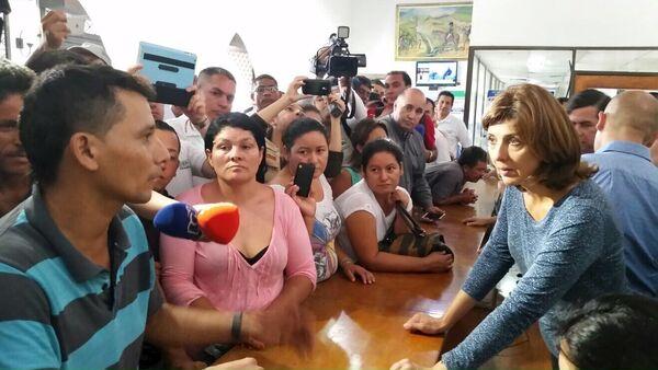 La canciller de Colombia, María Ángela Holguín, en la ciudad colombiana de Cúcuta, fronteriza con Venezuela - Sputnik Mundo