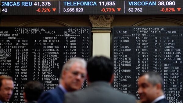 IBEX-35 index display in the Madrid stock exchange - Sputnik Mundo