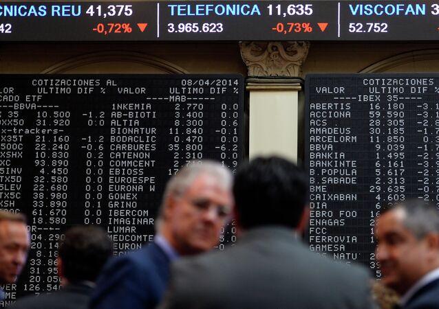 Visualizador de IBEX-35 en Bolsa de Madrid (archivo)