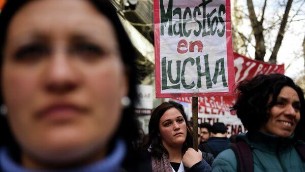 Huelga de los gremios de la educación en Montevideo, Uruguay, el 20 de agosto, 2015 - Sputnik Mundo