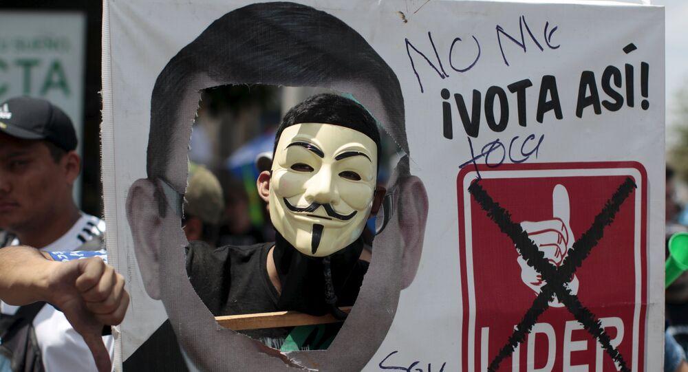 La marcha contra el presidente Otto Pérez Molina en la Ciudad de Guatemala