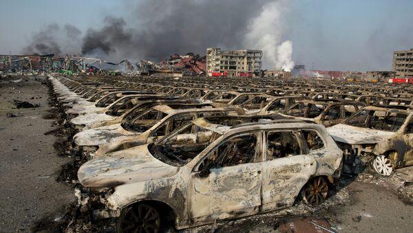 El lugar de accidente en Tianjin - Sputnik Mundo