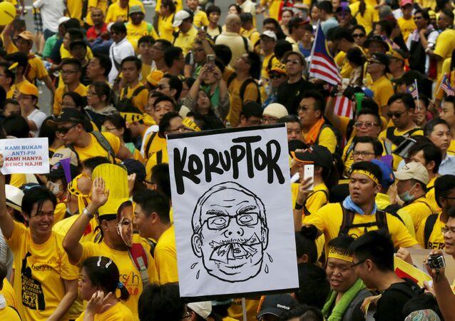 Manifestación de protesta en Kuala Lumpur
