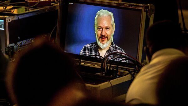 Julian Assange, fundador de WikiLeaks, durante una videoconferencia - Sputnik Mundo
