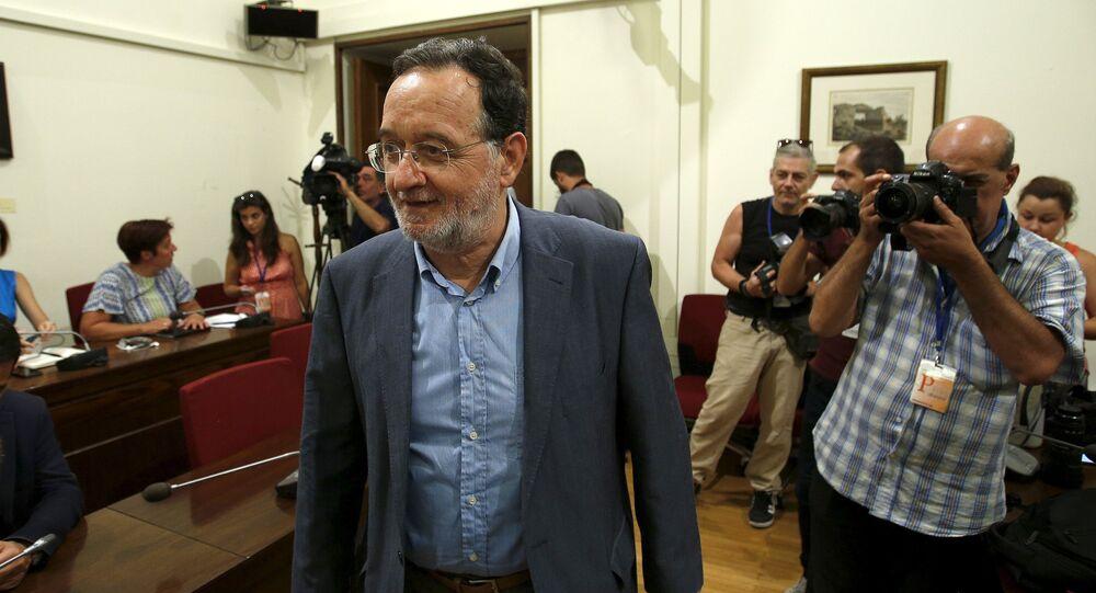 Panayotis Lafazanis, el líder del partido griego Unidad Populaк