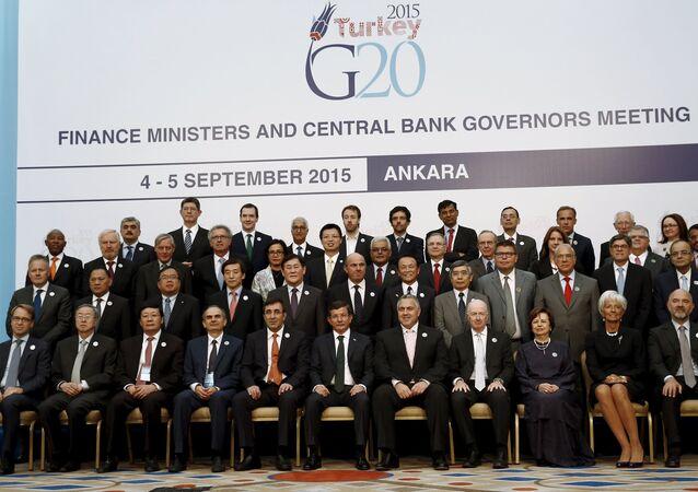 Foto de familia de los ministros de Finanzas y jefes de los Bancos centrales de los países G20, reunidos en Ankara