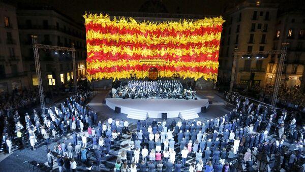 Bandera de Cataluña proyectada en Palacio de la Generalitat - Sputnik Mundo
