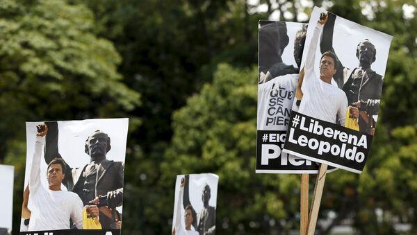 Partidarios de Leopoldo López durante la manifestación en Caracas, el 10 de septiembre, 2015 - Sputnik Mundo