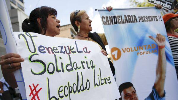 Manifestación en apoyo del opositor venezolano Leopoldo López - Sputnik Mundo