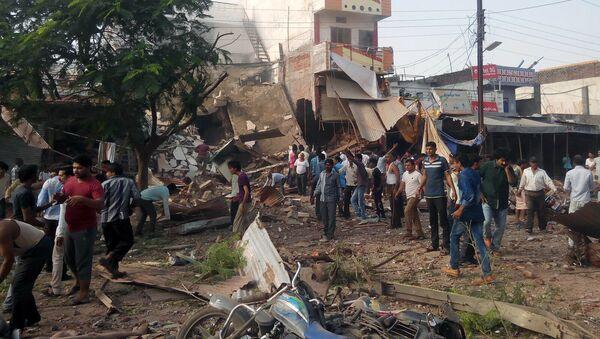 Lugar de la explosión en el distrito de Jhabua del estado de Madhya Pradesh, la ciudad de Petlawand, India, el 12 de septiembre, 2015 - Sputnik Mundo