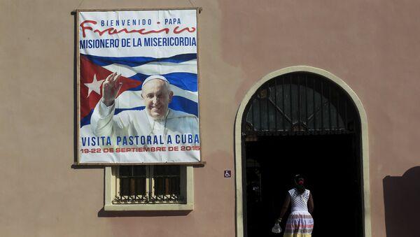Сartel con la imagen del Papa Francisco - Sputnik Mundo