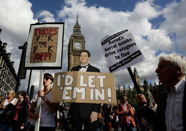 Manifestación en solidaridad con los refugiados en Londres