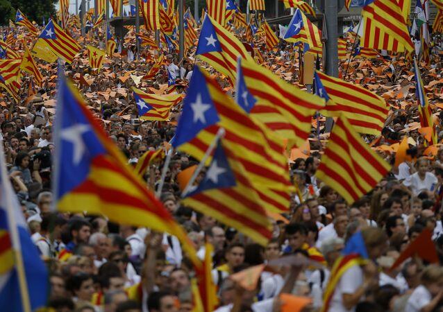 Mitin en apoyo de la independencia de Cataluña en Barcelona, el 11 de septiembre, 2015
