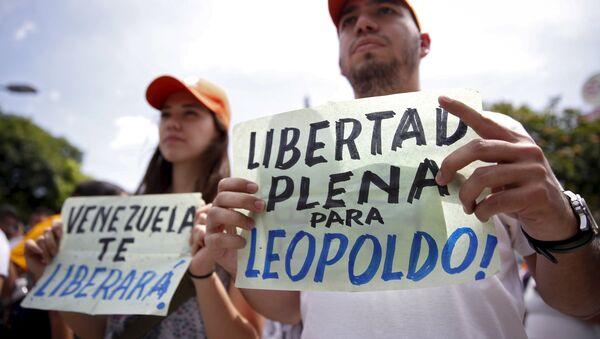 Manifestantes exigen la liberación del líder opositor Leopoldo López (archivo) - Sputnik Mundo
